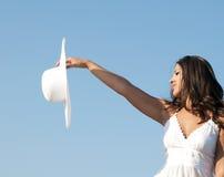 женщина неба шлема стоковое изображение rf