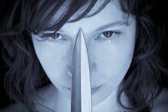 женщина ножа стоковые фотографии rf