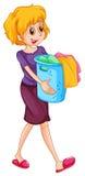 женщина нося прачечного корзины иллюстрация вектора
