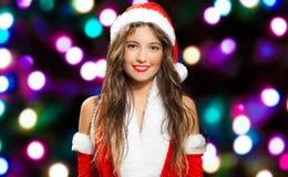 Женщина нося costume Santa Claus стоковые изображения