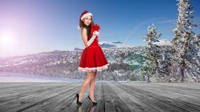 Женщина нося costume Santa Claus Стоковые Фотографии RF