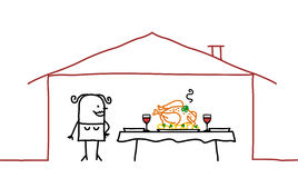 женщина обеда домашняя Стоковое фото RF