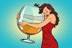 Женщина обнимая бокал вина иллюстрация вектора