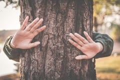 Женщина обнимая большой цвет дерева фокуса тона битника селективного мягкого Стоковые Фотографии RF