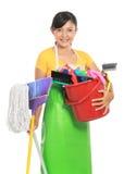 женщина оборудования чистки стоковое изображение
