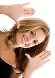 женщина обрамленная стороной Стоковое Изображение RF