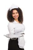 Женщина обслуживания держит пустую таблетку Стоковые Изображения RF