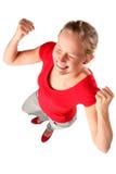 женщина обхватывая кулачков Стоковые Изображения RF