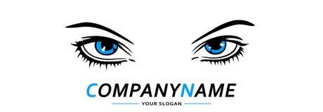 Женщина логотипа глаз голубая также вектор иллюстрации притяжки corel Стоковая Фотография RF