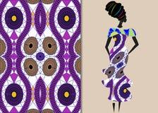Женщина одежды Анкара, африканская ткань печати, этнический handmade орнамент для ваших геометрических элементов дизайна, этничес иллюстрация вектора
