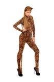 Женщина одетая как леопард стоковое фото