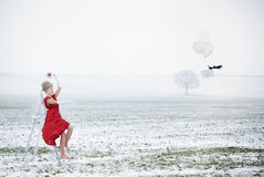 Женщина одетая как Mrs claus Стоковая Фотография RF