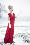 Женщина одетая как Mrs claus Стоковые Изображения