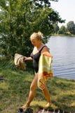 женщина озера ванны Стоковые Изображения RF