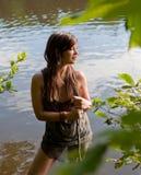 женщина озера милая Стоковые Изображения RF