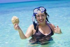 женщина океана snorkeling стоковая фотография rf