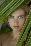 Женщина около ладони Стоковые Фотографии RF