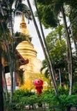 Женщина около золотого виска в Таиланде стоковая фотография