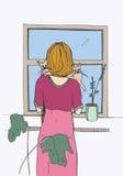 Женщина около окна с котами также вектор иллюстрации притяжки corel Стоковое Фото