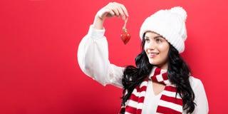 женщина орнамента удерживания рождества Стоковое Изображение