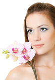 женщина орхидеи Стоковые Фотографии RF