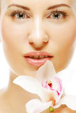 женщина орхидеи предпосылки красивейшим изолированная цветком белая стоковые изображения rf