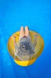 Женщина ослабляет в бассейне резиновый диск в взгляд сверху Стоковое фото RF