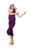 Женщина отжимая виртуальную изолированную кнопку Стоковые Фотографии RF