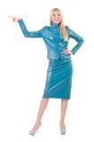 Женщина отжимая виртуальную изолированную кнопку Стоковая Фотография