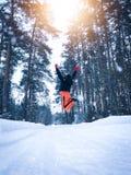 Женщина отскакивает высоко в снежных древесинах стоковые изображения