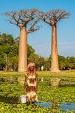 Женщина от деревни около бульвара баобабов Стоковое Фото