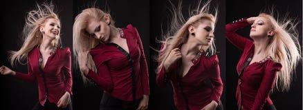 Женщина очарования с пышными белокурыми волосами в движении показывая diff стоковые изображения rf