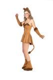 Женщина одетая как кот Стоковые Фото