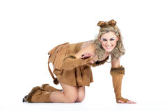 Женщина одетая как кот Стоковые Изображения