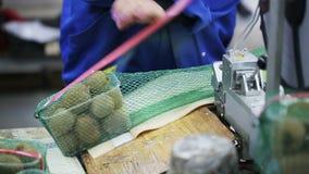 Женщина пакует контейнеры с кивиом в сумках сетки акции видеоматериалы