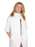 женщина пальто белая Стоковая Фотография RF
