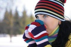 женщина парка кружки удерживания Стоковая Фотография RF