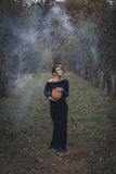 женщина парка осени красивейшая Стоковое Изображение RF