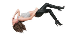 Женщина падая через небо Стоковое Изображение