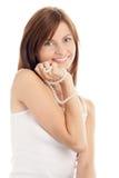 женщина перлы ожерелья Стоковое Изображение
