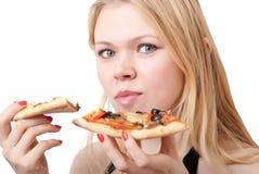 женщина пиццы Стоковое Фото