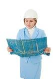 женщина плана инженера Стоковые Изображения RF