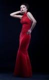 женщина платья грациозно длинняя самомоднейшая представляя Стоковые Изображения