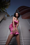 женщина платья розовая Стоковые Изображения RF