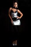 женщина платья серебряная Стоковая Фотография