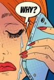 Женщина плача, говорящ на телефоне иллюстрация вектора