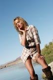 женщина пляжа милая Стоковые Фото