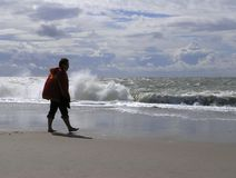 женщина пляжа песочная Стоковые Фото