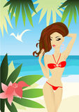 женщина пляжа сексуальная Стоковое Фото