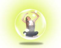 Женщина поглощенная внутри пузыря мыла Стоковая Фотография